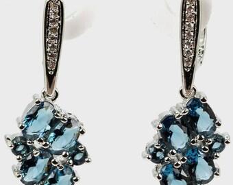 5.25ctw London Blue Topaz Sterling Silver Dangle Earrings