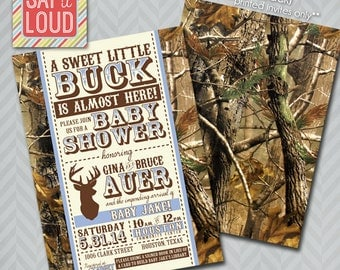 Little Buck Camo Baby Shower Invitation