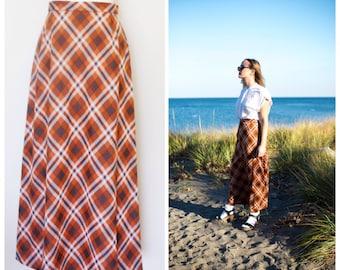 1970s Orange Plaid Skirt