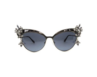 Black and white Marble Cat-eye Sunglasses - LAPPIA