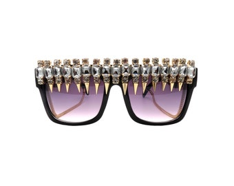 Flat top Black Sunglasses with Rhinestone Spike Embellishments - SPIK