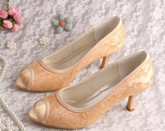 Custom handmade gold Lace Bridal wedding satin trim low heel peeptoe front court pump 14 colours!