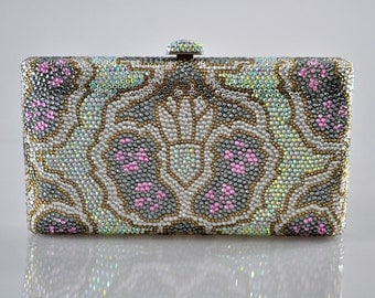 Swarovski ELEMENTS Tribal pattern Minaudiere Multi Pink White Green Gold Bridal Wedding Crystal Party Metal case box clutch purse bag