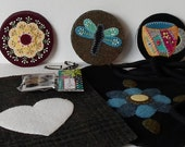 Custom Order for equart: Three Felted Wool Hand Made Brooches & Two Felted Wool IPhone Pouches