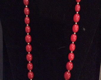 Red beaded necklace 26 in