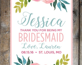 Thank You Wine Labels; Bridesmaid, Maid of Honor, Matron of Honor, Flower Girl