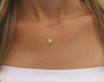 Tiny gold initial necklace, Gold letter necklace, Gold Initial jewelry, Bridesmaid gifts, Personalized gold jewelry, Custom gold necklace