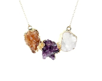 Energy necklace - chunky necklace - bib necklace - raw crystal necklace - statement necklace - amethyst - citrine - quartz necklace