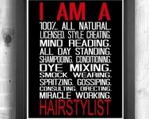 Hairdresser Gift, Gift for Hair Stylist, Salon Gift, spa print, birthday gift for Hairdresser, 8x10 Instant Download Print for Hairdresser