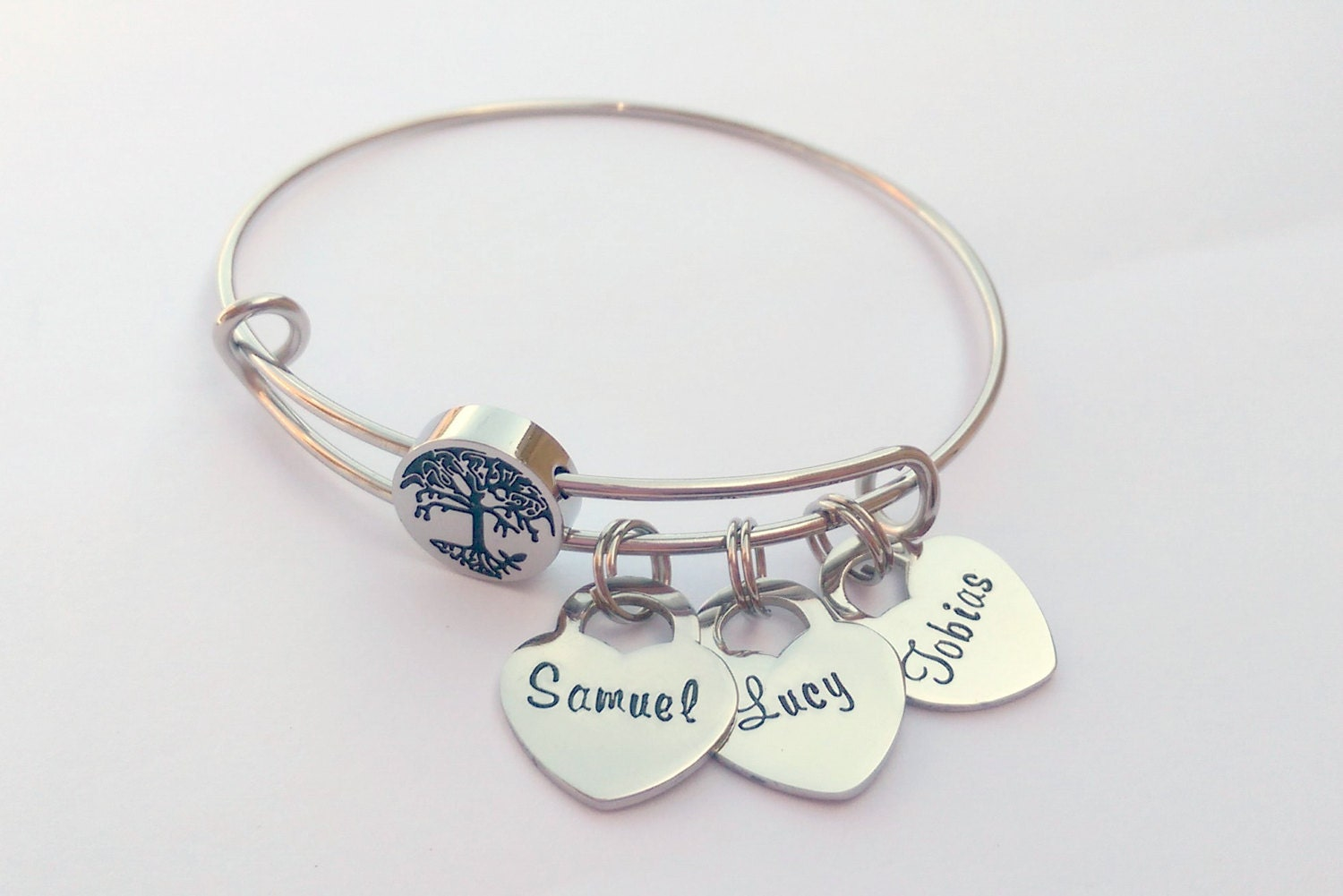 Personalised family tree bracelet - personalised charm bracelet - personalized heart charm bracelet - personalised gift for mom, mum, her