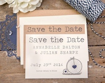 Vintage Bicycle Save The Date Postcards (Blue) with Envelopes - Set of 25
