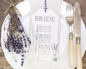 Lavender Wedding Menu Cards (set of 25) With Free Twine