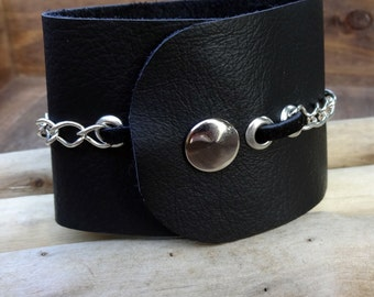 Black Leather and Silver Chain Cuff