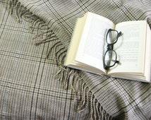 Vintage Plaid Blanket - Glen Check Blanket - Fringed Blanket - Neutral Home Decor - Menswear Decor - Picnic Blanket  Plaid Throw Blanket