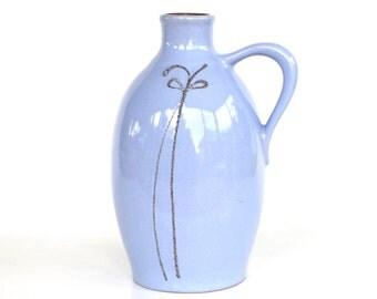 Light blue vase Strehla powder blue jug modernist handled pitcher east german pottery 9030 DDR design FAT LAVA lavender mid century