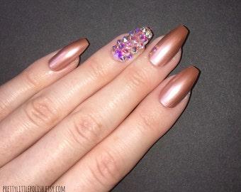 Rose gold swarovski crystal coffin nails, Swarovski crystal nails, Swarovski nails, Nail designs, Nail art, Nails, Stiletto nails