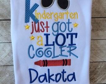 Back to school shirt-Kindergarten just got a lot cooler shirt-Applique back to school-First grade-PreK-boys back to school