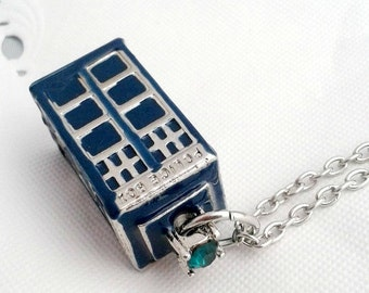 enamel tardis doctor who police box phone box necklace