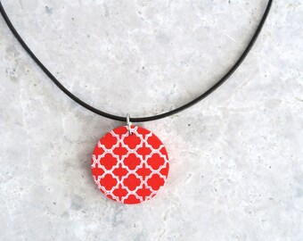 1/2 PRICE - Wooden Pendant Necklace, Red Pendant Necklace, Modern Geometric Pendant, Hand Painted Wood Necklace, Red Jewellery, Gift for Her