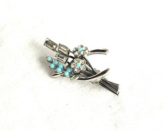 Wishbone Pin, Flower Pin, Wishbone Brooch, Pretty Brooch, Turquoise flowers, Blue Silver Brooch, Vintage Brooch, Petite Pin,  Gifts for Her,