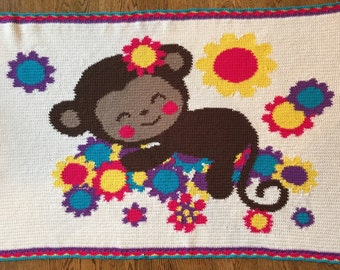 Sleeping Monkey Baby Blanket