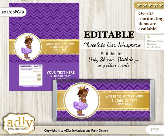 Personalizable african princess chocolate bar wrapper for Candy bar wrappers template for baby shower printable free