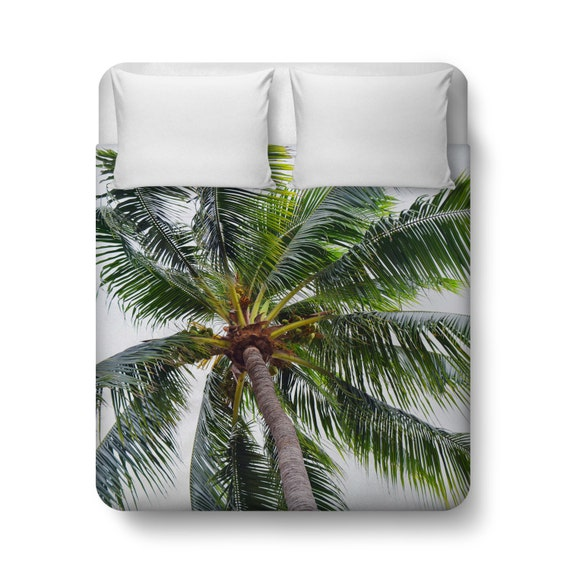 Caribbean Palm Duvet Cover Green Coconut Palm By Naturecityco