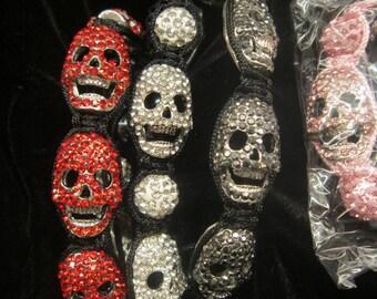 Red Shamballa Style crystal skull bracelet