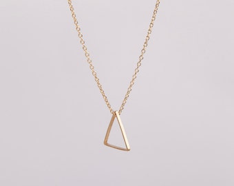 Gold Plated Necklace Triangle Golden Necklace Minimal Jewelry Necklace  Triangle