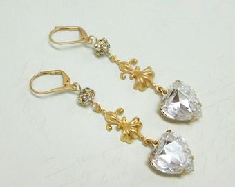 Crystal Heart Earrings Rhinestone Heart Ear Dangles Victorian Shabby Chic Downton Abbey