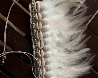 White Feathers Bracelet with shells.