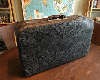 Antique Pebbled Cowhide Leather Suitcase with Glorious Emerald Green Satin Interior and Brass Fixtures
