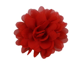"Red - Set of 3 Large 4"" Chiffon Dahlia Flowers - LDF-001"