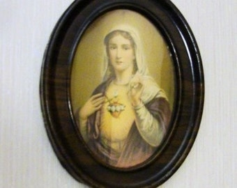 """The Sacred Heart of Mary Vintage Framed Lithograph in Oval Metal Frame Small 8-3/4 by 6-3/4"""""""