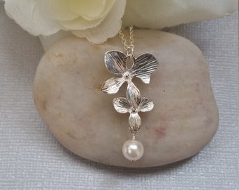 Cascading Orchid Necklace, Sterling Silver, Jewelry