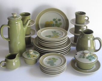 Franciscan Pebble Beach Earthenware  5 Piece Dinnerware Service  for 6 Dining Guests, Plus Serving Pieces