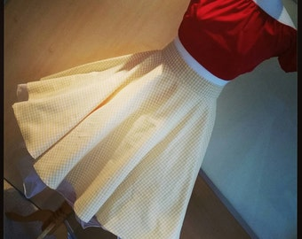 Retro pinup vintage 1950's style full circle skirt 30.5 inch waist UK size 12 in yellow gingham