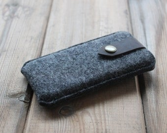 iPhone Case / iPhone Sleeve in Mottled Dark Grey Wool Felt and Dark Brown Crazy Horse Pull Up Leather Strap