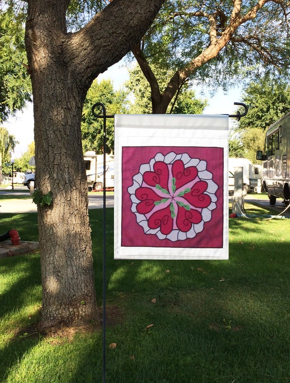Valentine Garden Flag In A Traditional Sanskrit Design Called A Mandala,  Which Is A Repetitive Circular Pattern. This Is Constructed Using Single  Appliqué ...