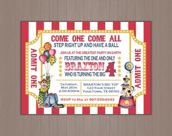 Circus Invitation, Ticket Invitation, Circus Party, Clown Party, Big Top, Step right up, Carnival, 1st, 2nd, 3rd, 4th, 5th, First, Printed