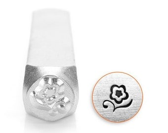 Flower Design Metal Stamp , 6mm flower metal punch , blossom metal stamp - SC1514-A-6MM