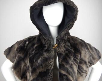 Grey hooded shawl