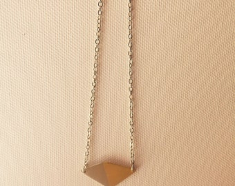Rhombus necklace/pendant/marriage of metals jewelry/ married metals/alpaca jewelry/brass