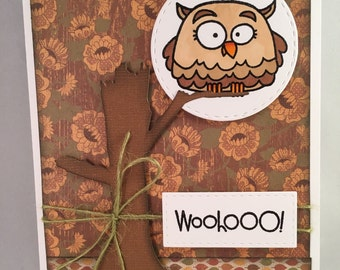 "Handmade Greeting Card~""Woohooo!"" OWL~Congratulations~Paper Smooches"