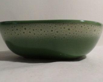 Vintage, Tamac, Pottery, Perry Oklahoma, Frosty Pine, Atomic Amoeba, bowl, fruit bowl, antique, old, tamac pottery, teamvintageusa