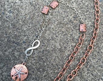 Copper Sanddollar Infinity Slide Necklace