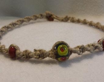 Thick Hemp Necklace Glass Beads - Hemp Jewelry