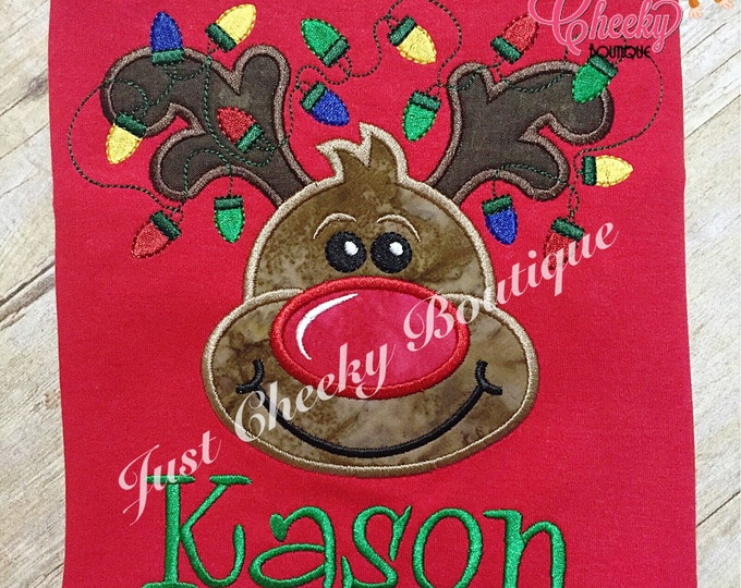 Reindeer with Christmas Lights - Rudolph the Red Nosed Reindeer - Christmas Embroidered Shirt