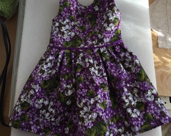 Cabbage Patch doll purple flowered dress