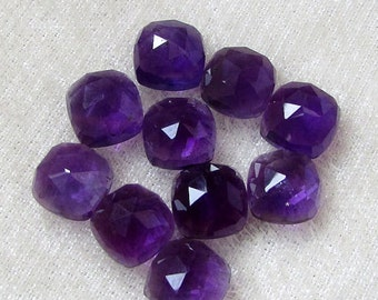 Wholesale Lot 10 Pieces Natural Purple Amethyst Cushion Rose Cut Gemstone For Jewelry